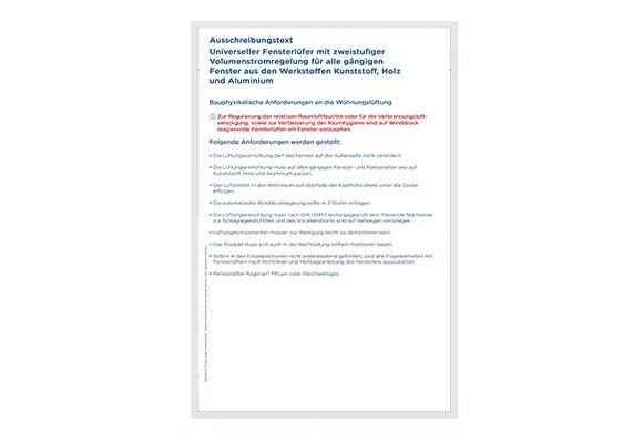 Ausschreibungstext Regel-air® FFLuni