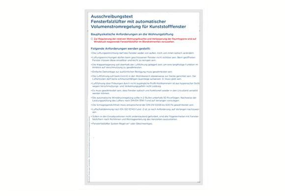 Ausschreibungstext Regel-air® FFL